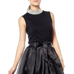 Gracia Black Sleeveless Embellished High Neck Top